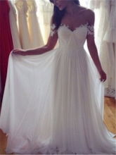Off-The-Shoulder Ruched Appliques Beach Wedding Dress