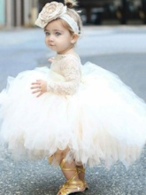 Ball Gown Lace Long Sleeves Tea-Length Flower Girl Dress