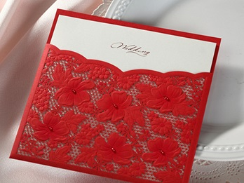 Floral Style Wrap & Pocket Invitation Cards (20 Pieces One Set)