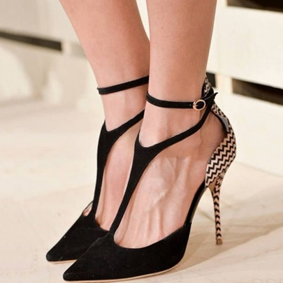 Pointed Toe T-Shaped Buckle Stiletto High Heel Women's Pumps