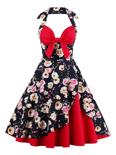 Double-Layered Vintage Halter Women's Day Dress