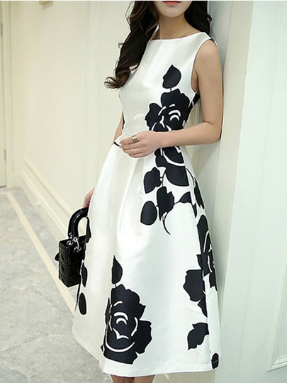 White and Black Print Women's Day Dress