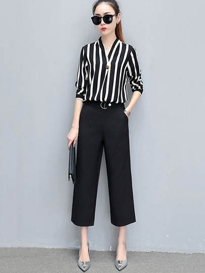 Stripe Top with Pants Women's Two Piece Set