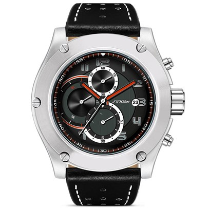 Pin Buckle Large Dial with Calendar Leisure Men's Watch