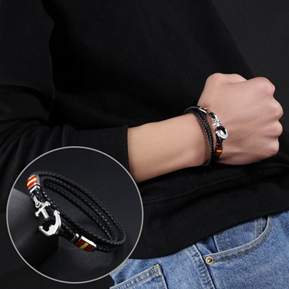 Stainless Steel Anchor Artificial Leather Men's Bracelet