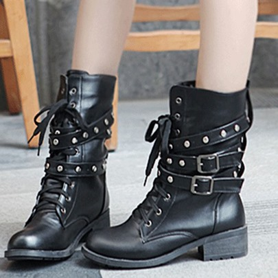 Lace-Up Rivet Buckle Low Heel Women's Martin Boots