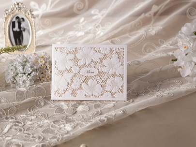 Floral Design Pearl Paper Invitation Cards (20 Pieces One Set)