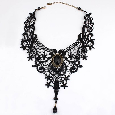 Black Lace Hollow Collar Necklace