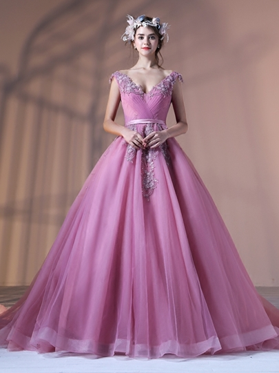 Ball Gown Appliques V-Neck Pearls Pleats Sashes Floor-Length Quinceanera Dress