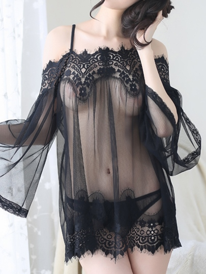 Off-Shoulder Long Sleeve See-Through Babydoll