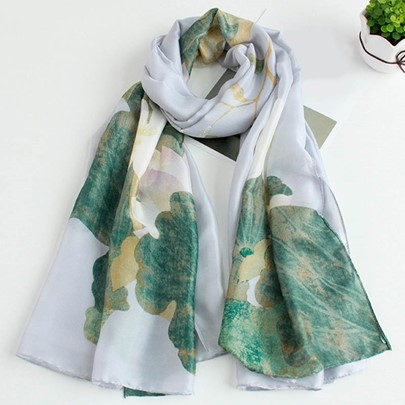 Imitation Silk Lotus Flower Design OL Scarf
