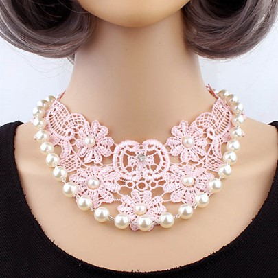 Handmade Beaded Pink Lace Hollow Short Necklace