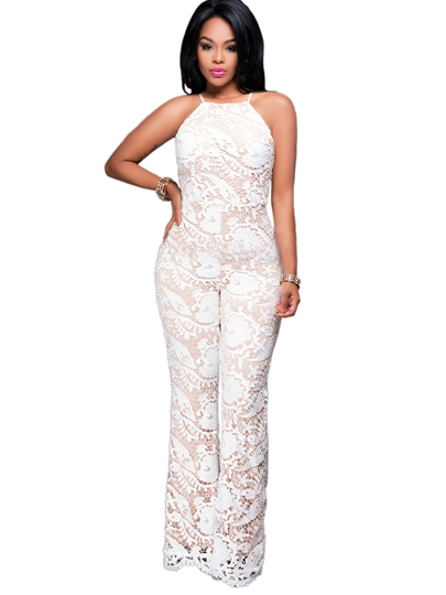 Embroidery Hollow Backless Bellbottoms Women's Jumpsuit