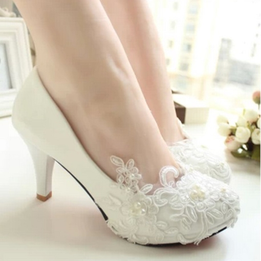 Stiletto Heel Slip-On Round Toe Lace Wedding Shoe