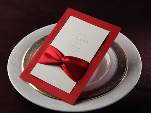 Style Wrap & Pocket Invitation Cards With Bows (20 Pieces One Set)