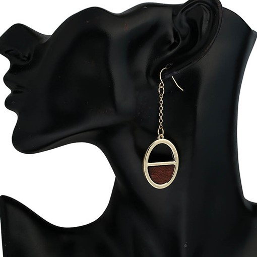 Alloy Oval with Wood Long Chain Earrings
