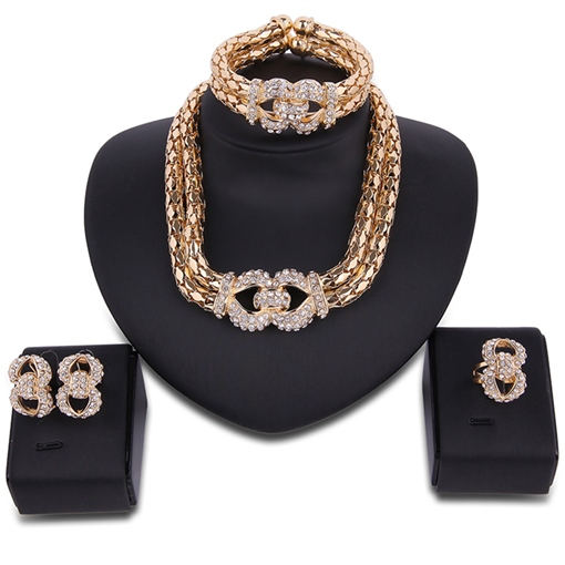 Double Layers Golden Diamante Exaggerated Jewelry Set