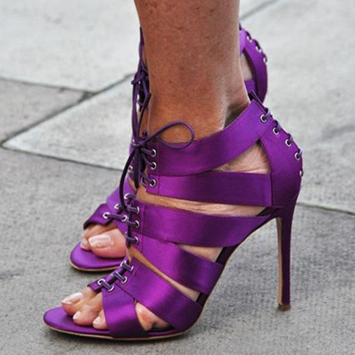 Lace-Up Ultra Violet Pantone Color of The Year Women's Sandals