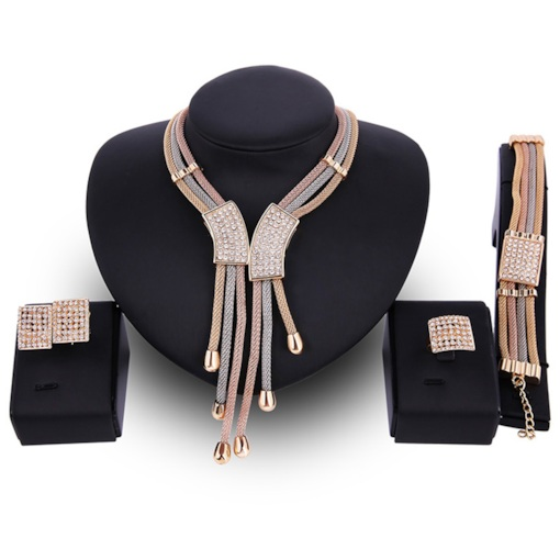 Multilayer Rhinestone Inlaid Tassels Design Jewelry Set