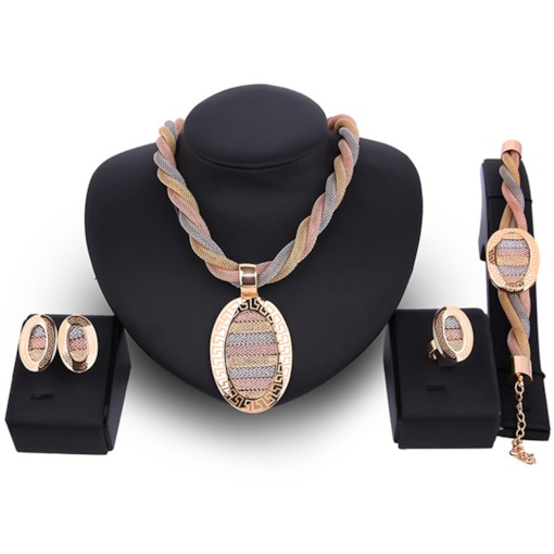Four Pieces Gold Twist Design Alloy Jewelry Set