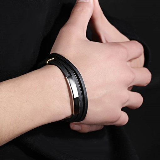 Titanium Steel Embellished Men's Artificial Leather Bracelet
