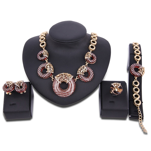 Round Pendant Four-Pieces Hollow Jewelry Set