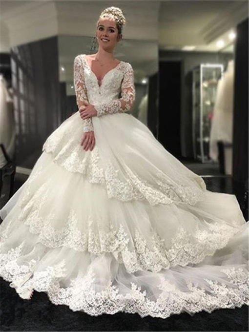 Tiered Appliques Wedding Dress with Long Sleeves