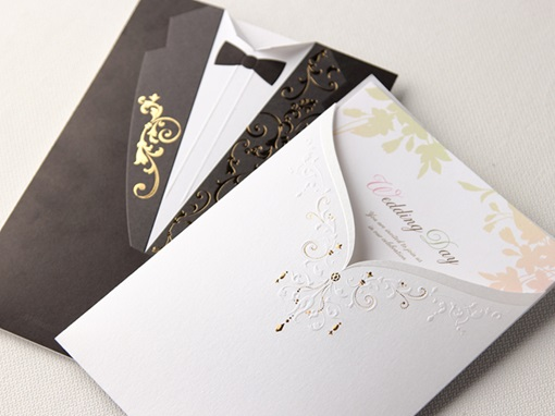 Gown & Tux On Different Side Wedding Invitation (20 Pieces One Set)