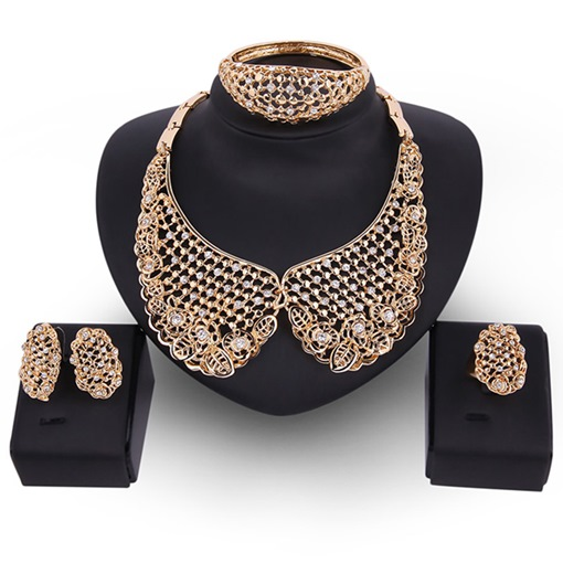 Hollow Design Golden Diamante Women's Jewelry Set