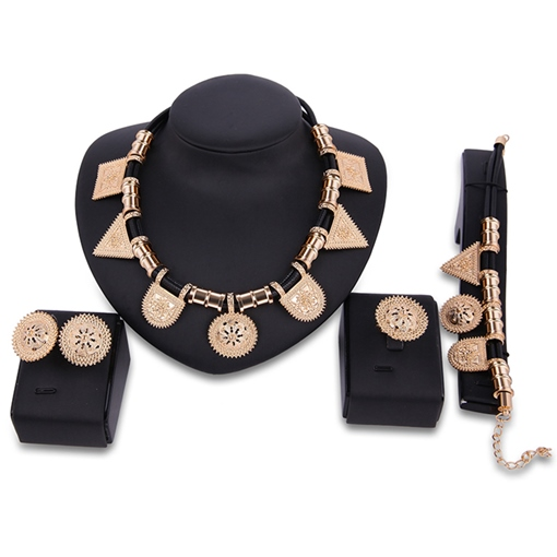 Geometric Carving Golden Four-Pieces Jewelry Set