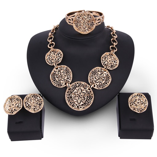 Golden Flowers Carving Design Hollow Jewelry Set