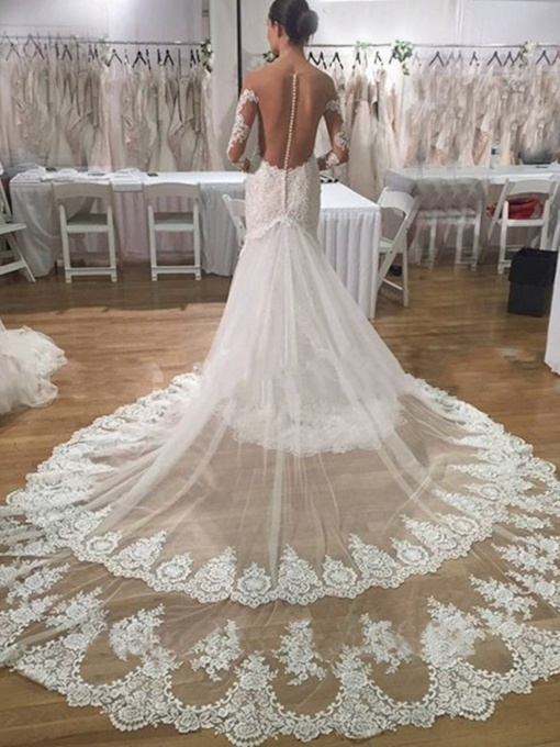 Sheer Back Button Lace Mermaid Wedding Dress with Long Sleeve