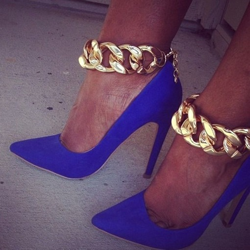 Ankle Chain Pointed Toe Women's Pumps