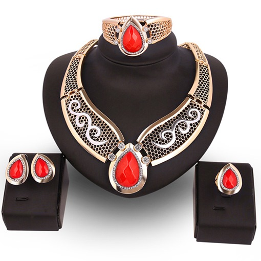 Red Water Droplets Pendant Four-Pieces Jewelry Set