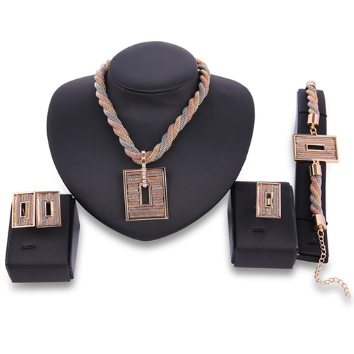 Multilayer Twist Rectangle Hollow Pendant Jewelry Set