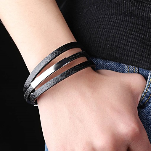 Titanium Steel Artificial Leather Men's Multilayer Bracelet