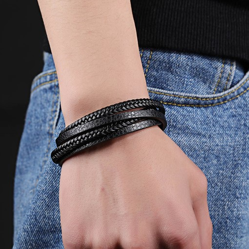 Braiding Artificial Leather Multilayer Black Bracelet for Men