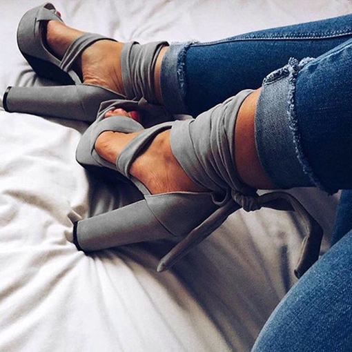 Gray Lace Up Chuncky Heel Sandals