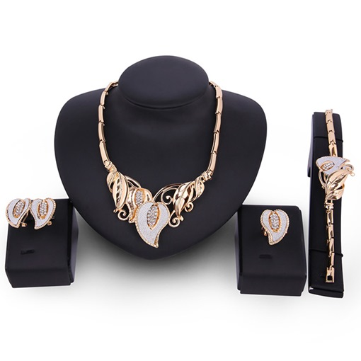 Wonderful Golden Leaf Diamante Jewelry Set