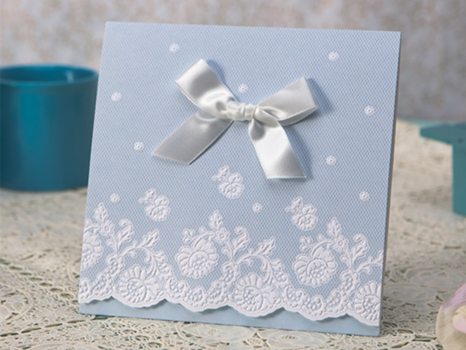 Clear Style Tri-Fold Invitation Cards With Bows/Ribbons (20 Pieces One Set)