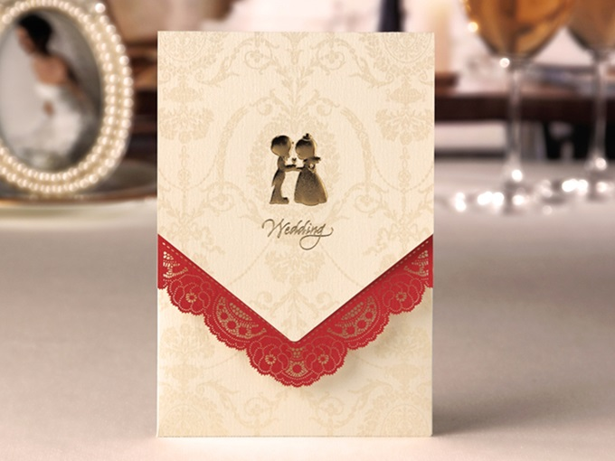 Gold Side Fold Wrap & Pocket Invitation Cards (20 Pieces One Set)
