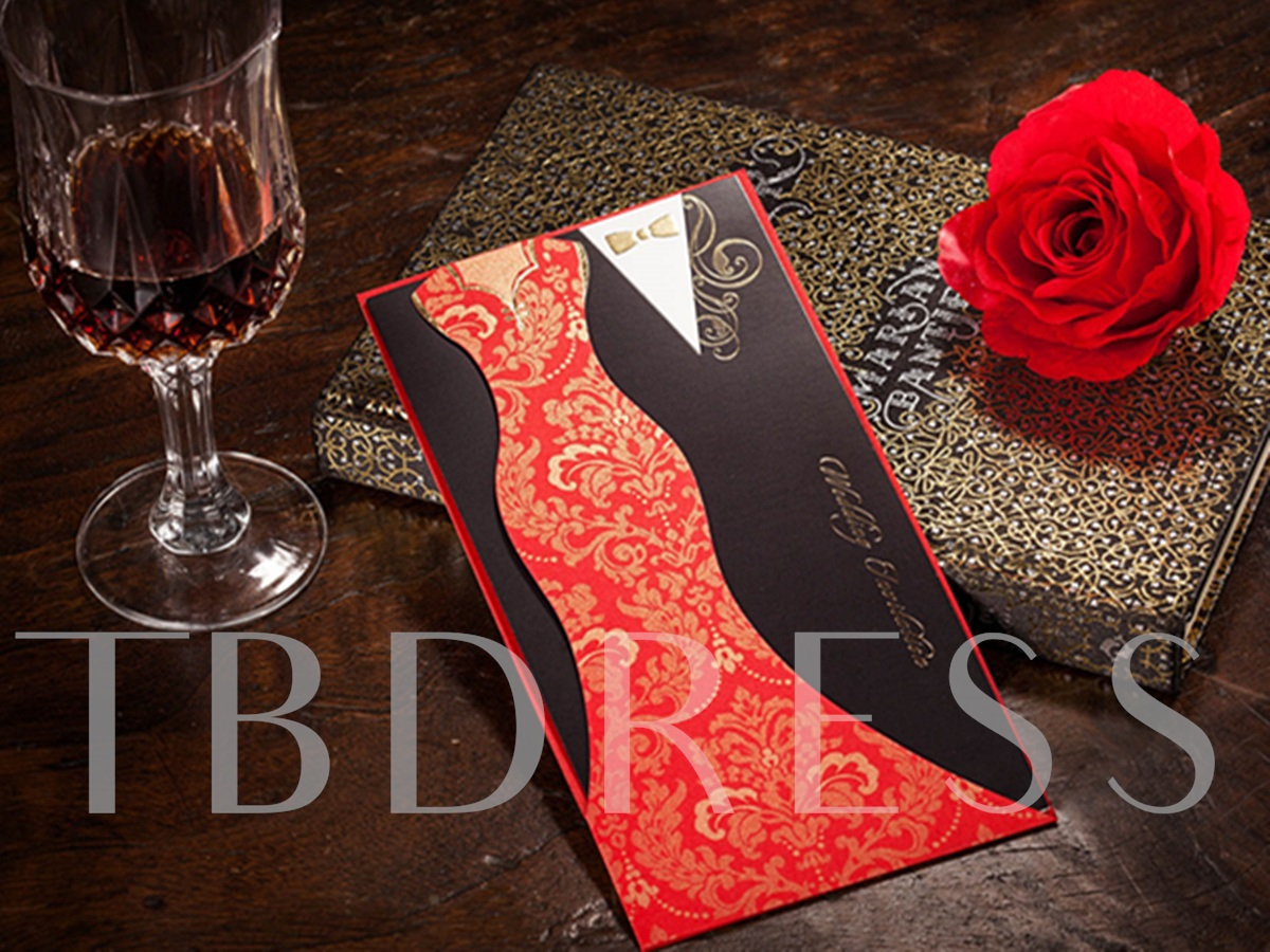 Bride&Groom Style Wrap&Pocket Invitation Cards (20 Pieces One Set)