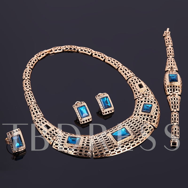 Party Gemstones Inlaid Hollow Design Jewelry Set