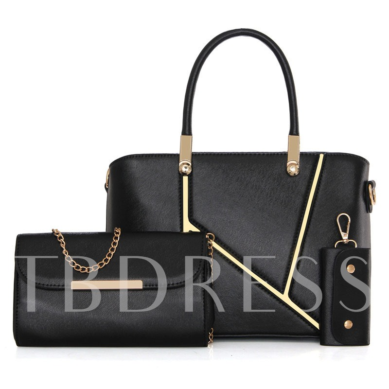 Elegant Silt Pocket Patchwork PU Three Bag Set