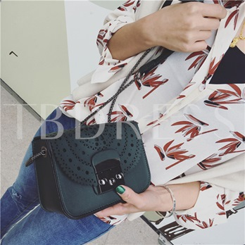 Korean Style Hollow Out Lock Chain Crossbody Bag