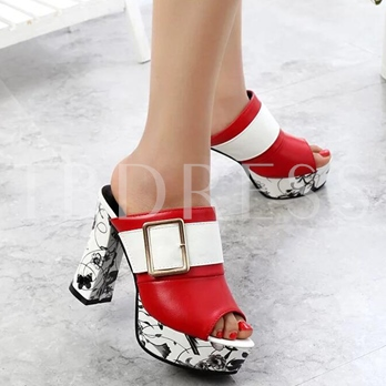 Buckle Block Heel Slip-On Mules Shoes Women's Slide Sandals