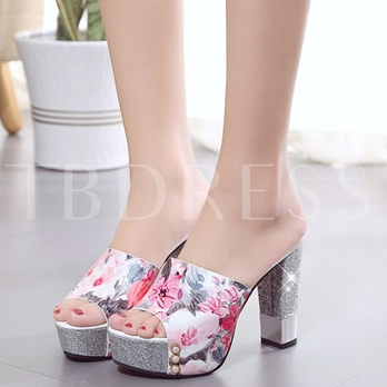 Peep Toe Print Platform Heel Sandals Slip-On Women's Mules