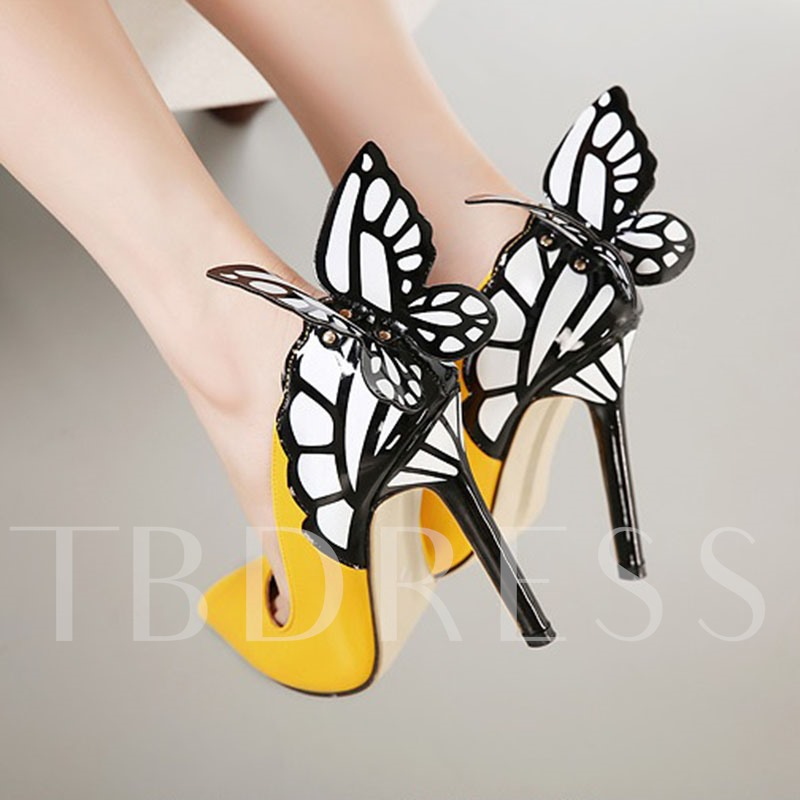 Butterfly Decorated Pointed Toe High Heel Women's Pumps