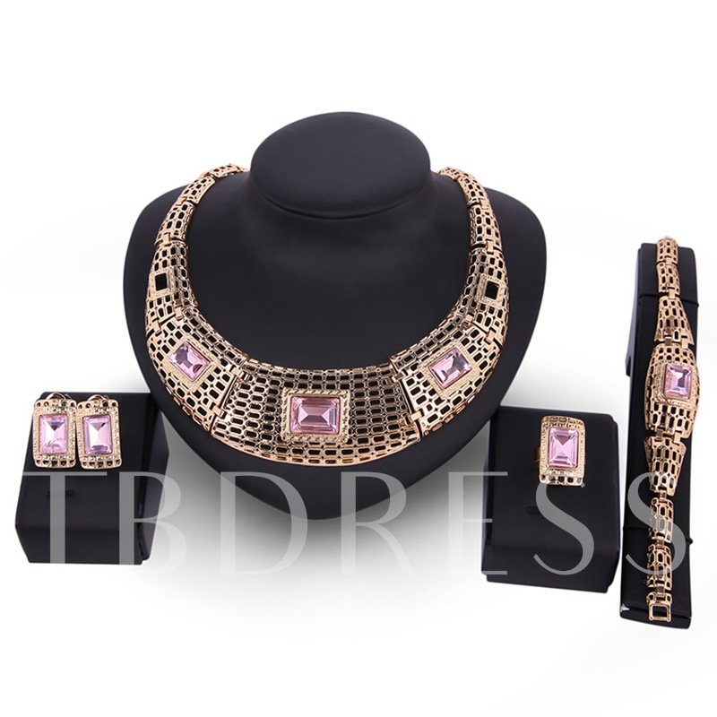 Pink Artificial Gemstones Design Hollow Jewelry Set