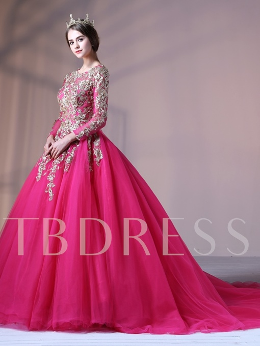 Ball Gown Appliques Jewel Court Train Long Sleeves Quinceanera Dress